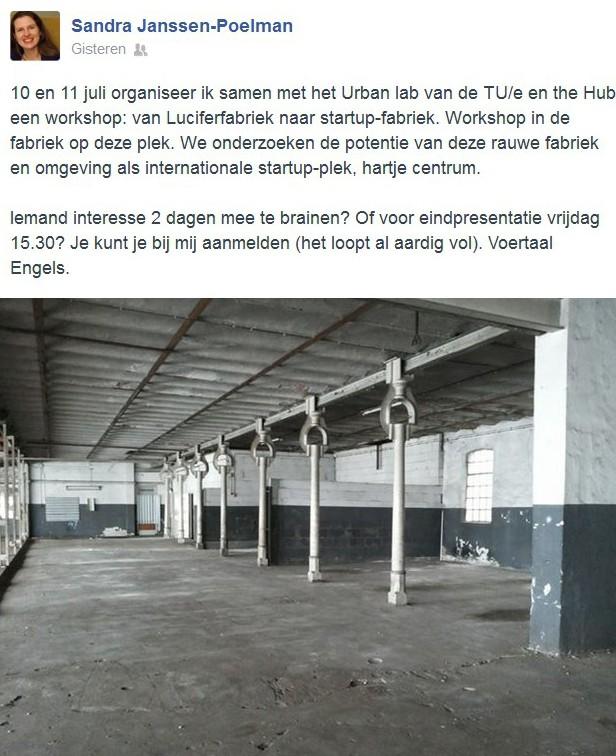 Voor de workshop Van Luciferfabriek tot start upfabriek kun je je opgeven bij de gemeente Eindhoven.