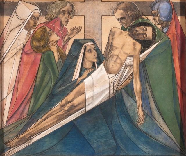 Jan Toorop, Dertiende statie: Jezus wordt van het kruis afgenomen (gesigneerd 1918) (Lukas 23:53, Johannes 19:38). Herkomst beeldmateriaal RCE Beeldbank-Sjaan van der Jagt/Pixelpolder 2012 (klik op de afbeelding voor een vergroting).
