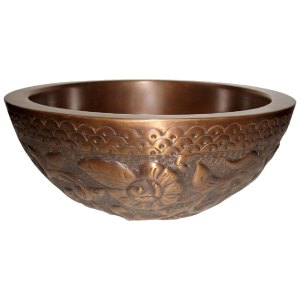 Copper Sink Double wall Embossing outer walls