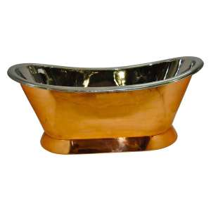 Copper Pedestal Tub Nickel Interior
