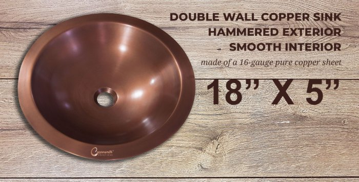 keyword Copper Sink Double wall Outside Hammered