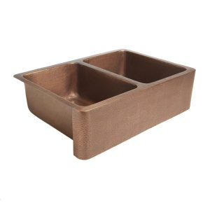 Hammered Front Apron Double Bowl Copper Farmhouse Sink