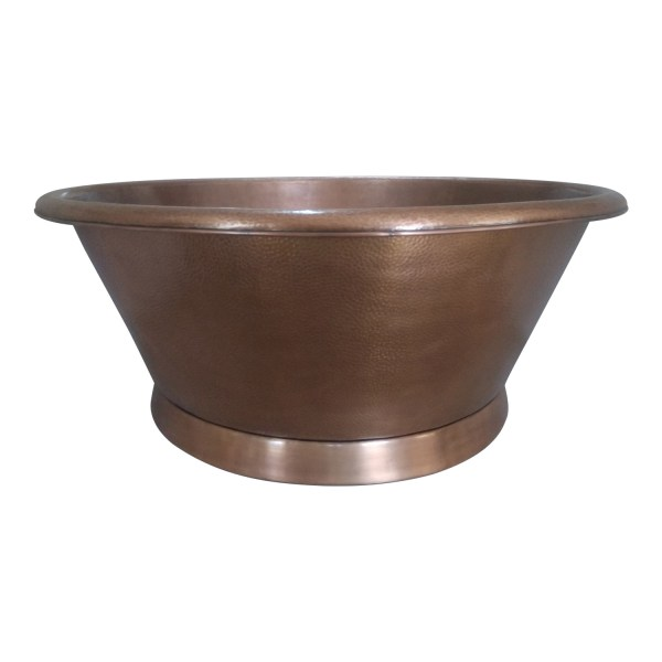 Round Copper Tub Hammered Antique