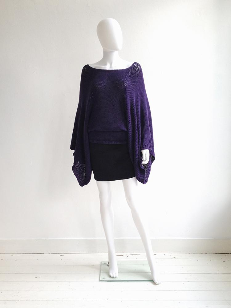 Ann Demeulemeester purple batwing jumper   Alexander Wang black miniskirt   shop at vaniitas.com