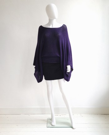Ann Demeulemeester purple batwing jumper | Alexander Wang black miniskirt | shop at vaniitas.com
