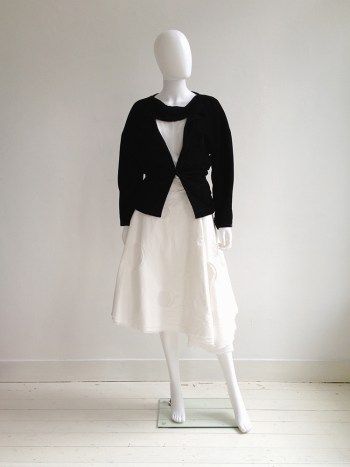 Comme des Garçons black deconstructed blazer - runway 1990 | Dirk Schönberger white paper skirt with cutout circles | Ann Demeulemeester white top with stitching detail | shop at vaniitas.com