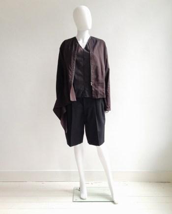 vintage Dries Van Noten purple bomber jacket | Ann Demeulemeester aggplant top | Comme Des Garcons oversized white shorts | shop at vaniitas.com