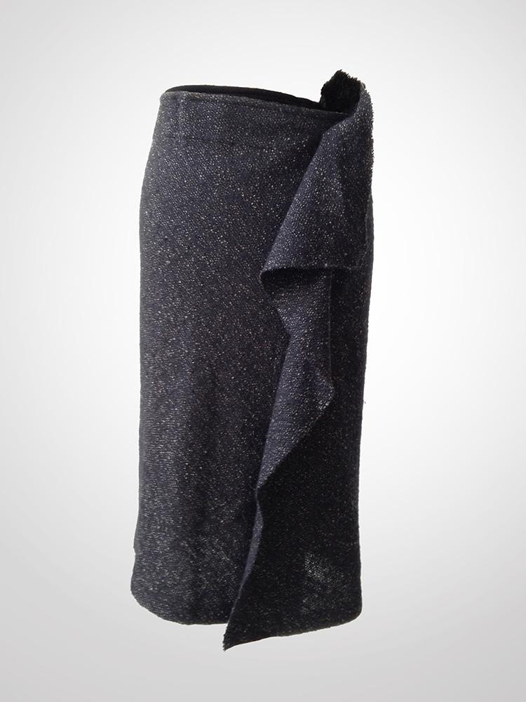 Yohji Yamamoto speckled fabric wool drape skirt front