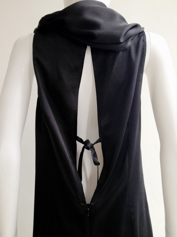 second hand Ann Demeulemeester black cowl neck dress with open back