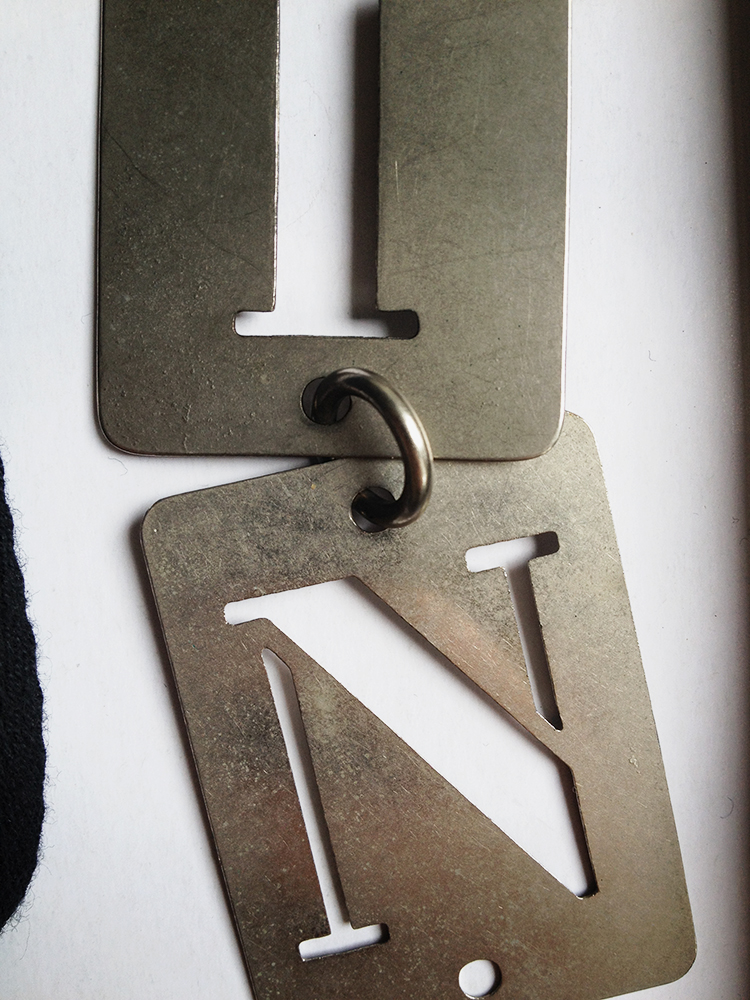"Ann Demeulemeester ""SIN"" metal stencil necklace - S/S 2003"