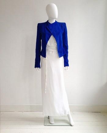 Haider Ackermann blue suede cutout jacket - spring 2012 | Ann Demeulemeester poetry skirt - spring 2000 | Ann Demeulemeester white tanktop | shop at vaniitas.com