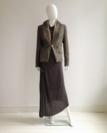 vintage Maison Martin Margiela tweed blazer with exposed lining - fall 2003 | Rick Owens brown maxi dress - fall 2008 | shop at vaniitas.com