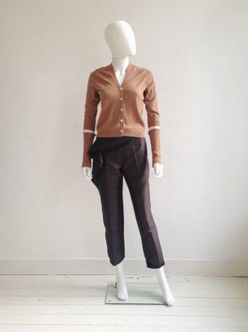 Maison Martin Margiela permanently creased orange cardigan with separate detached sleeves — fall 1990 | Haider Ackermann purple pelum trousers — runway 2010 | shop at vaniitas.com