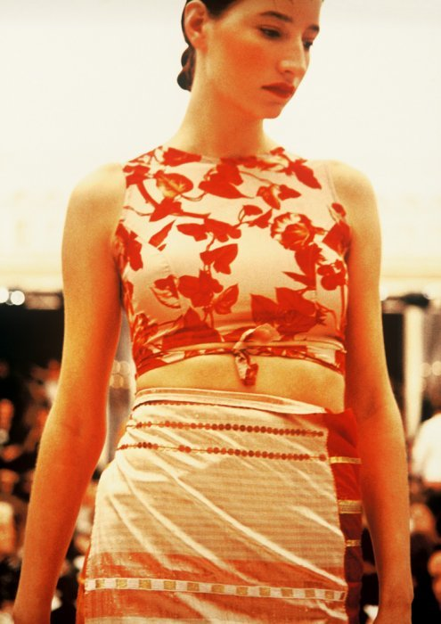 Dries Van Noten red floral wrap top — fall 1994