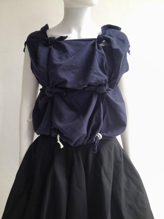 second hand Comme des Garçons blue knotted top — spring 2008