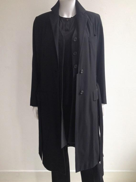 second hand Dries Van Noten black long belted coat
