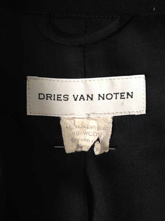 vintage Dries Van Noten black long belted coat