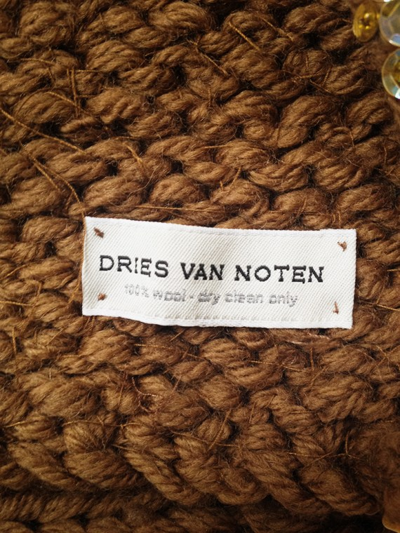 second hand Dries Van Noten brown scarf with yellow flowers — fall 2000