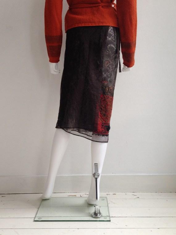 Vintage Dries Van Noten Indian bollywood style embellished brown skirt