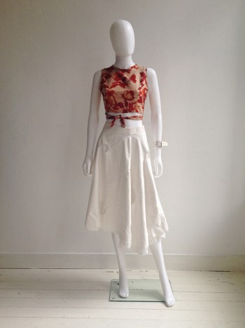 Dries Van Noten red floral wrap top — fall 1994 | Dirk Schonberger white skirt | Lieve Van Gorp white leather bracelet | shop at vaniitas.com
