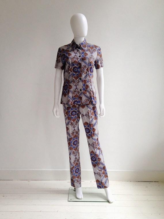 Dries Van Noten blue and white floral batik suit — fall 1997 | shop at vaniitas.com