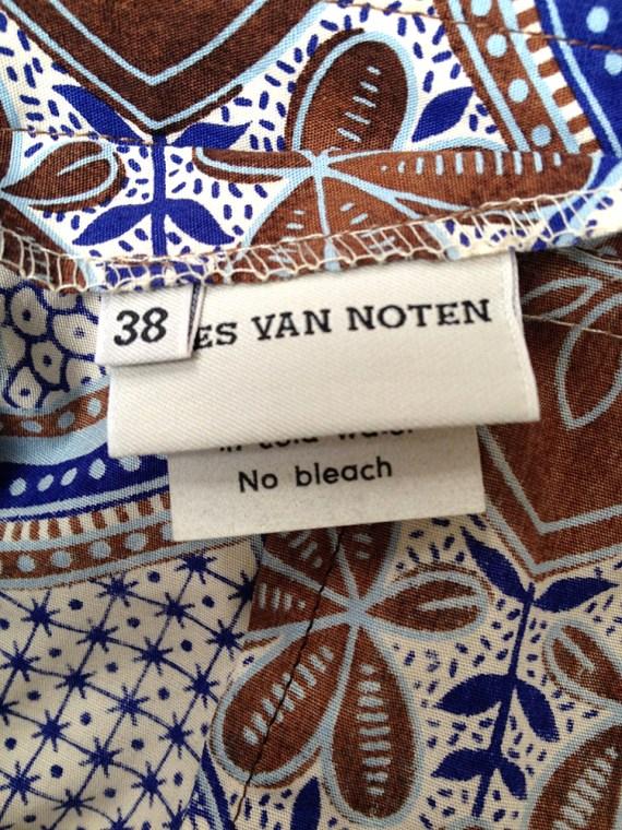 vintage Dries Van Noten blue and white floral batik suit — fall 1997