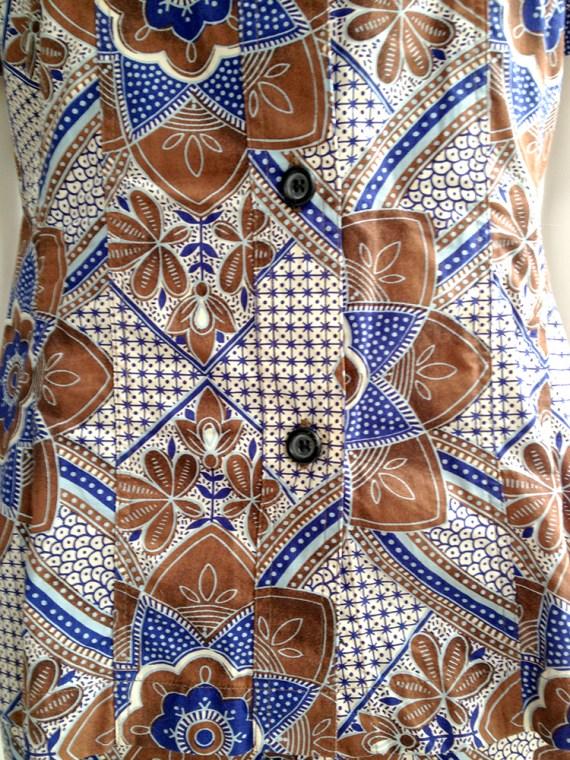 archive Dries Van Noten blue and white floral batik suit — fall 1997