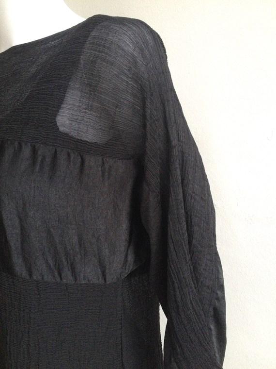 vintage Issey Miyake Cauliflower black dress with sheer stripes