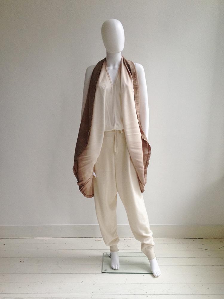 Maison Martin Margiela ombre transformable dress — spring 2003 | Ann Demeulemeester white track pants | shop at vaniitas.com