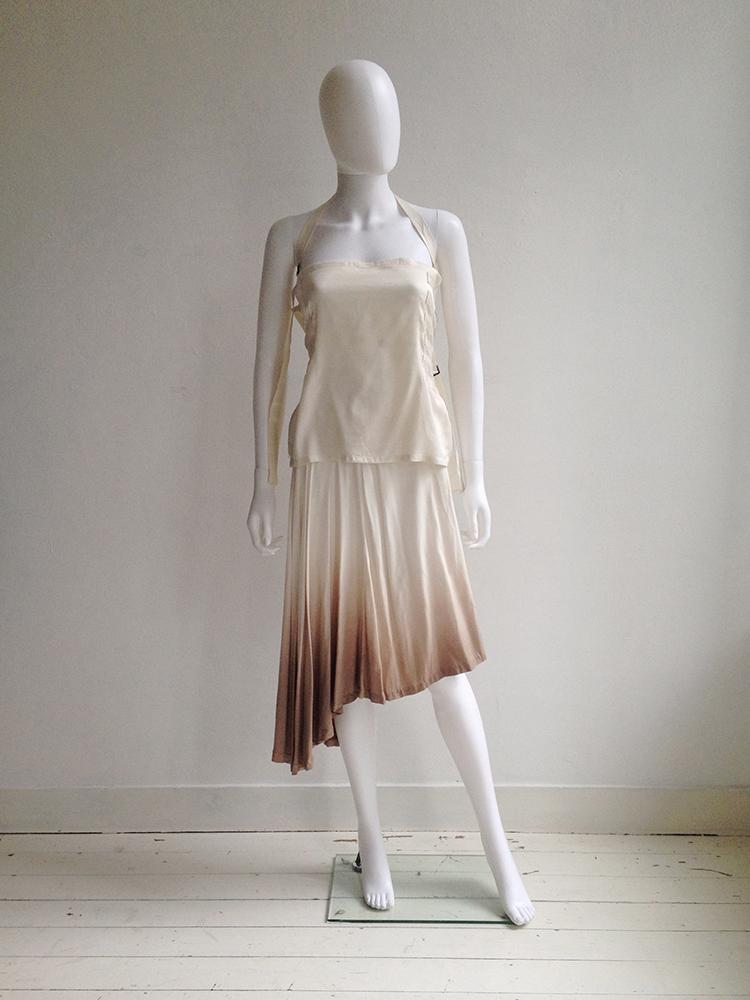 Maison Martin Margiela ombre transformable dress — spring 2003 | Ann Demeulemeester white bondage strap top — spring 2003 | shop at vaniitas.com