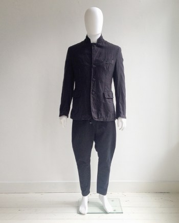 vintage Ann Demeulemeester mens black blazer with stitched finish