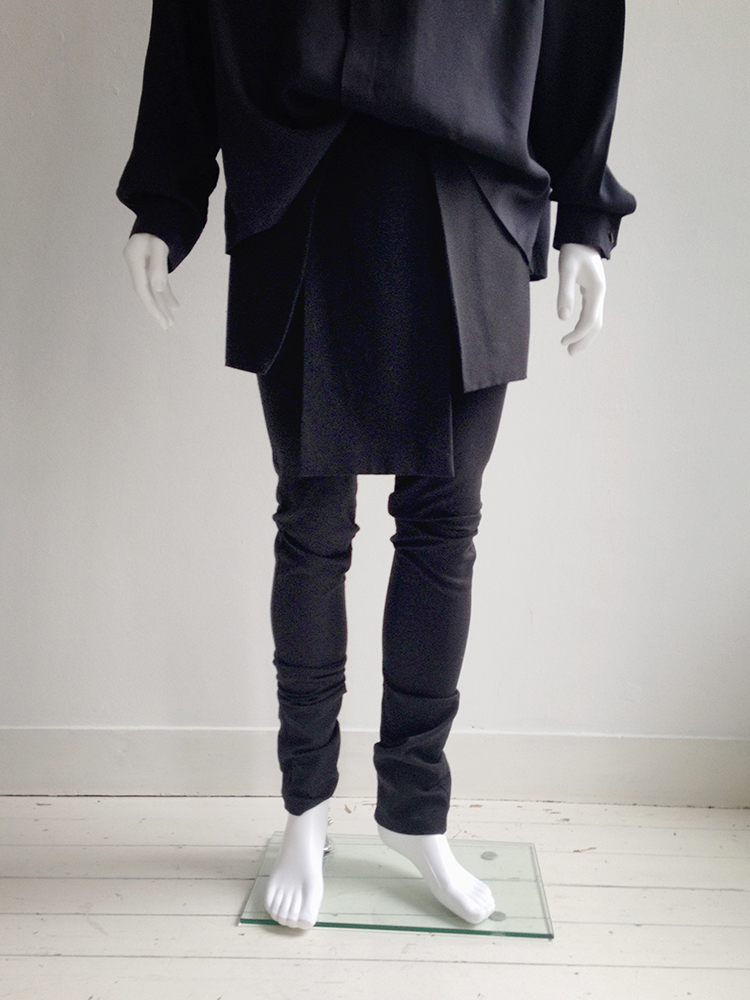 Rad by Rad Hourani black unisex leggings with front panels skirt fall 2012 runway bottom1