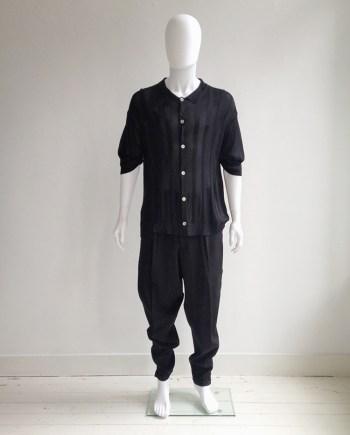 vintage Yohji Yamamoto pour Homme black striped knit polo