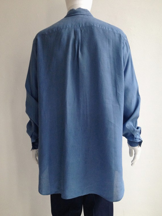 Yohji Yamamoto pour homme mens blue square oversized shirt archive 80s top2