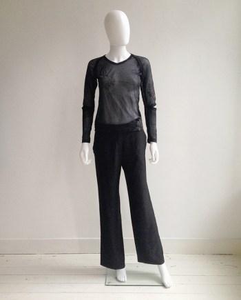 Helmut Lang black sheer phoenix top — fall 1995   Ann Demeulemeester black wide trousers   shop at vaniitas.com