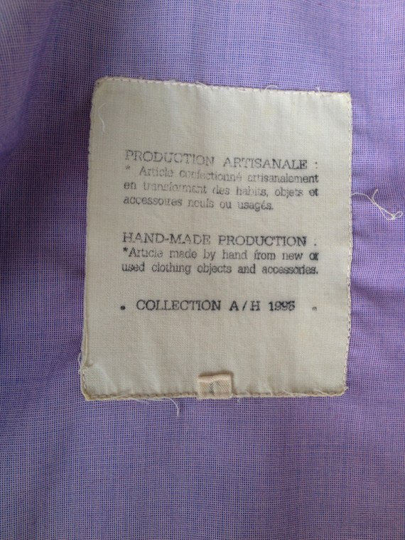 Maison Martin Margiela artisanal purple military shirt — fall 1995