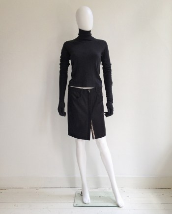 Ann Demeulemeester black press button mini skirt — spring 2001