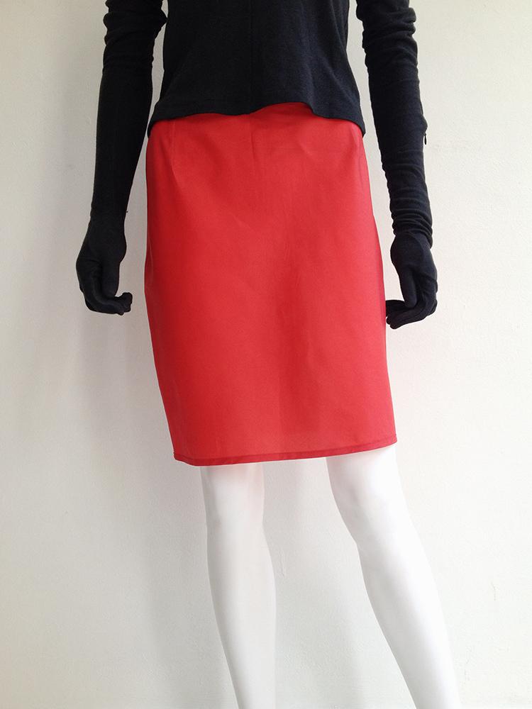 archive Helmut Lang red mini skirt