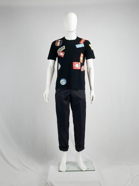 Junya Watanabe Man black travel sticker t-shirt — spring 2009