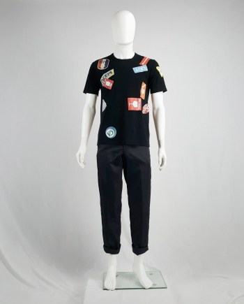 Junya Watanabe Man black travel sticker t-shirt — spring 2009