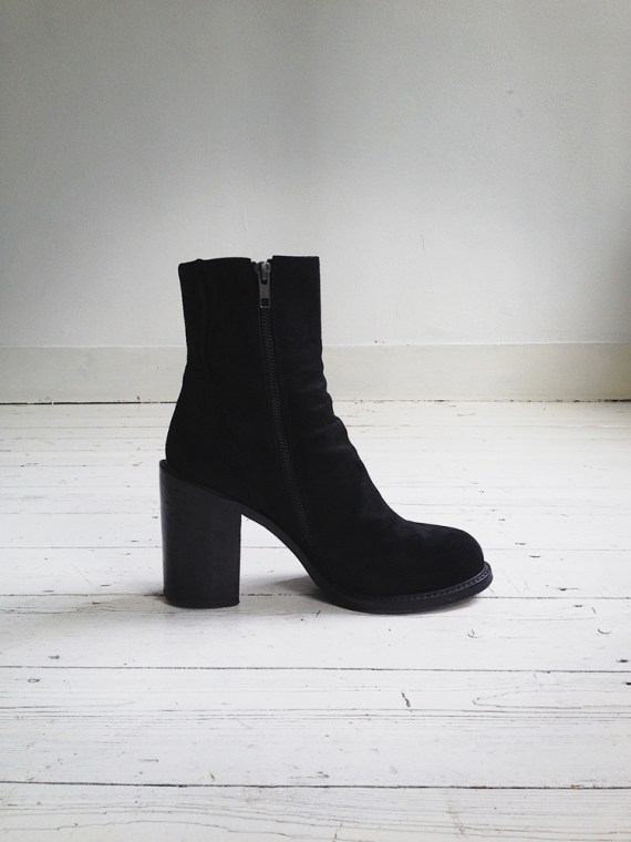 A F Vandevorst black suede ankle boots 3784 copy
