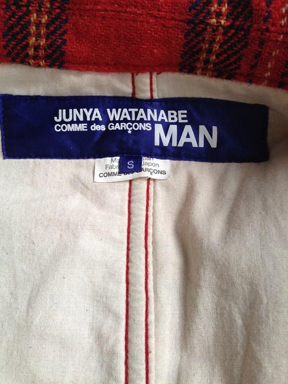 VINTAGE Junya Watanabe Man red tartan blazer — AD 2002