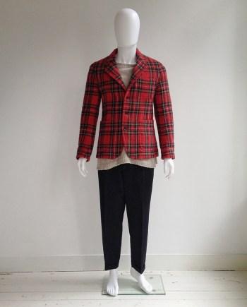 Junya Watanabe Man red tartan blazer — AD 2002