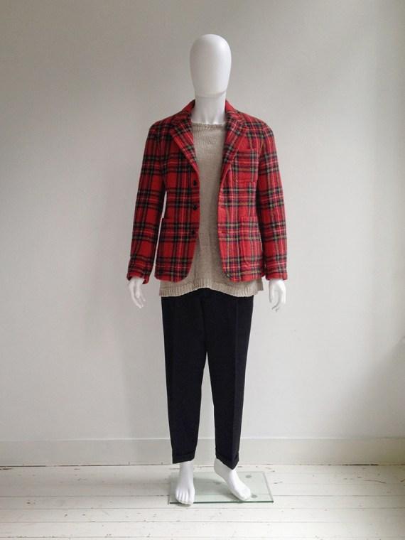 Junya Watanabe man red tartan wool blazer fall 2003 model2