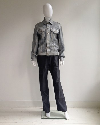 Maison Martin Margiela artisanal silver painted jeans jacket — spring 1999