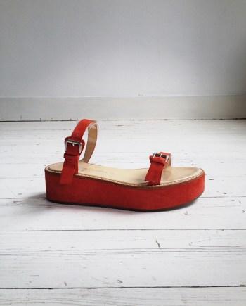 Ann Demeulemeester red flatform sandals (39) — spring 2004
