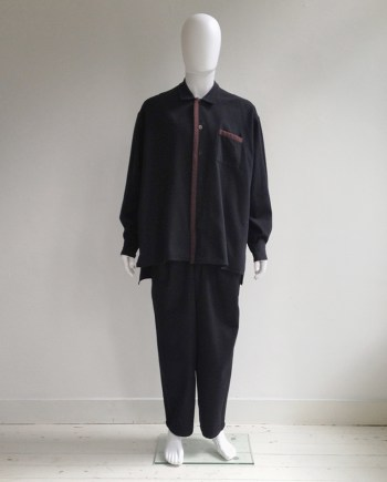 Yohji Yamamoto pour Homme black jacket with brown stripe — 80s