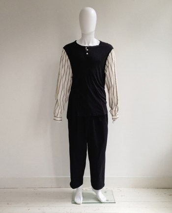Ann Demeulemeester black top with striped sleeves