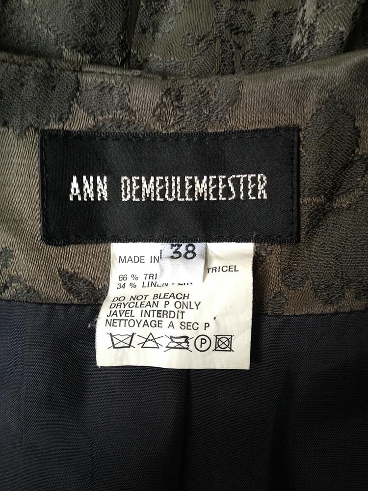 Ann Demeulemeester green brocade blazer — fall 1994