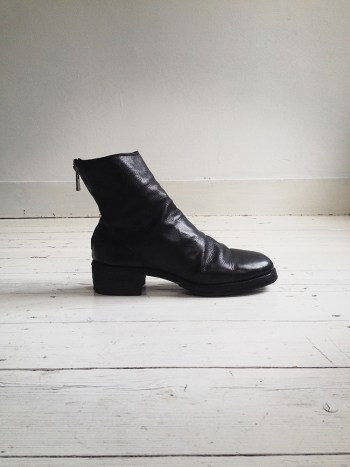 vintage Guidi 796Z Black Leather Back-Zip Boots